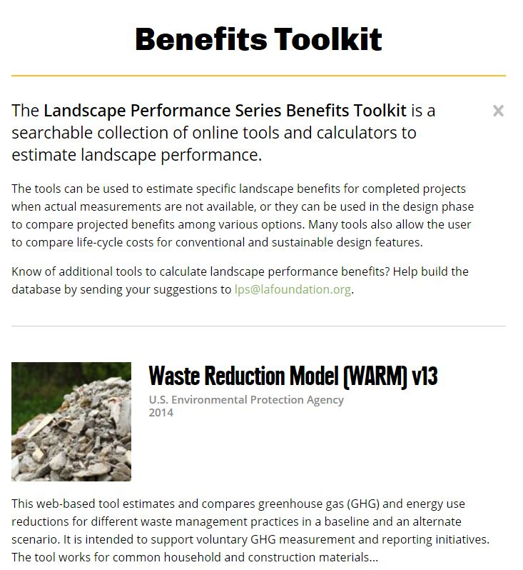 The Landscape Performance Series Benefits Toolkit