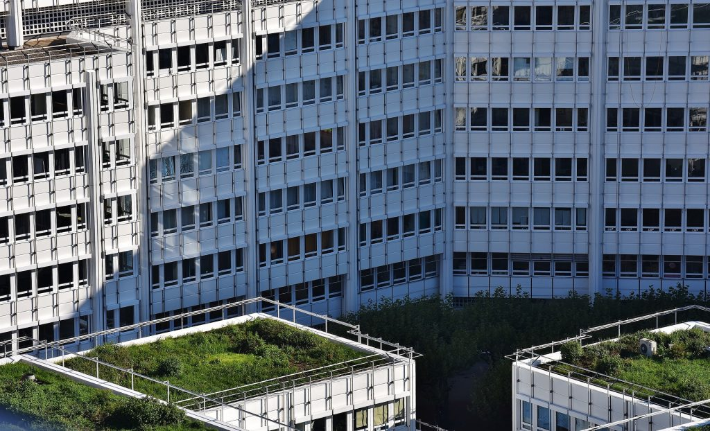 Green roofs on top of tall apartment buildings
