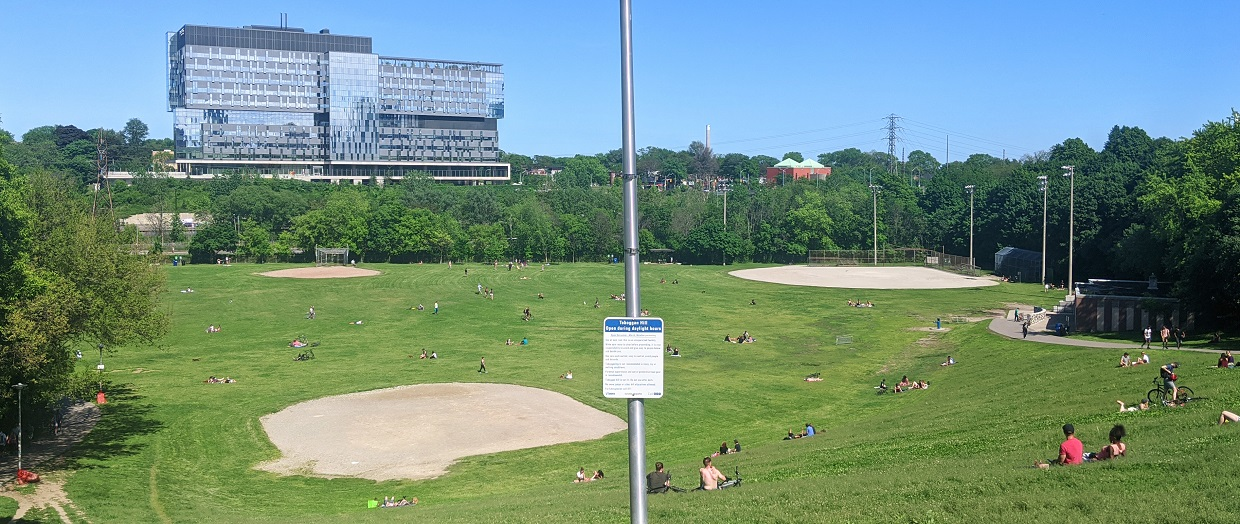 Toronto residents enjoy a sunny afternoon in Riverdale Park