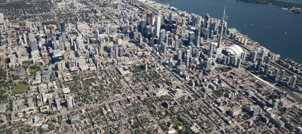 aerial view of downtown Toronto cityscape